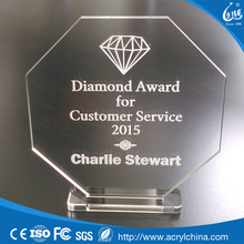 Octagonal Clear Acrylic ENGRAVED Employee AWARD blanks