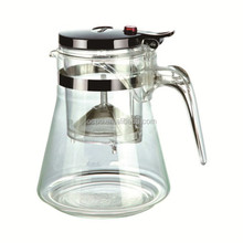 glass teapot for gas cooker/tea pot with tea strainer