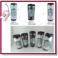 350ml outer plastic inner stainless steel travel mug advertising cup insert paper thermal mug