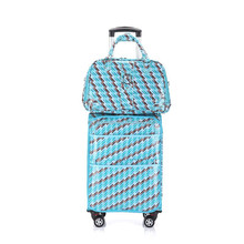 blue pattern Carry-on Rolling Expandable Luggage Lightweight Suitcase Tote Bag Set