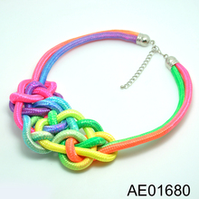 New style special colorful braided leather charm necklaces