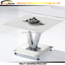 Alluring supporting table base design glossy artificial marble dining table unique design