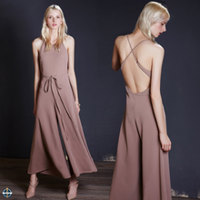 T-JP001 Women Sexy Backless Wide Leg Evening Jumpsuits
