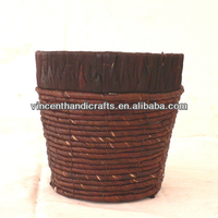 Bathroom basket large size antique grungy corn rope woven wine red flower pot