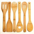 Hot selling full set Cooking Utensils Natural Bamboo Kitchen Slotted Spatula Spoon Mixing Holder Dinner Food Rice Wok Shovels
