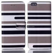 The fashion leisure style stripes of England Leather Magnet Cover Case for iPhone 6