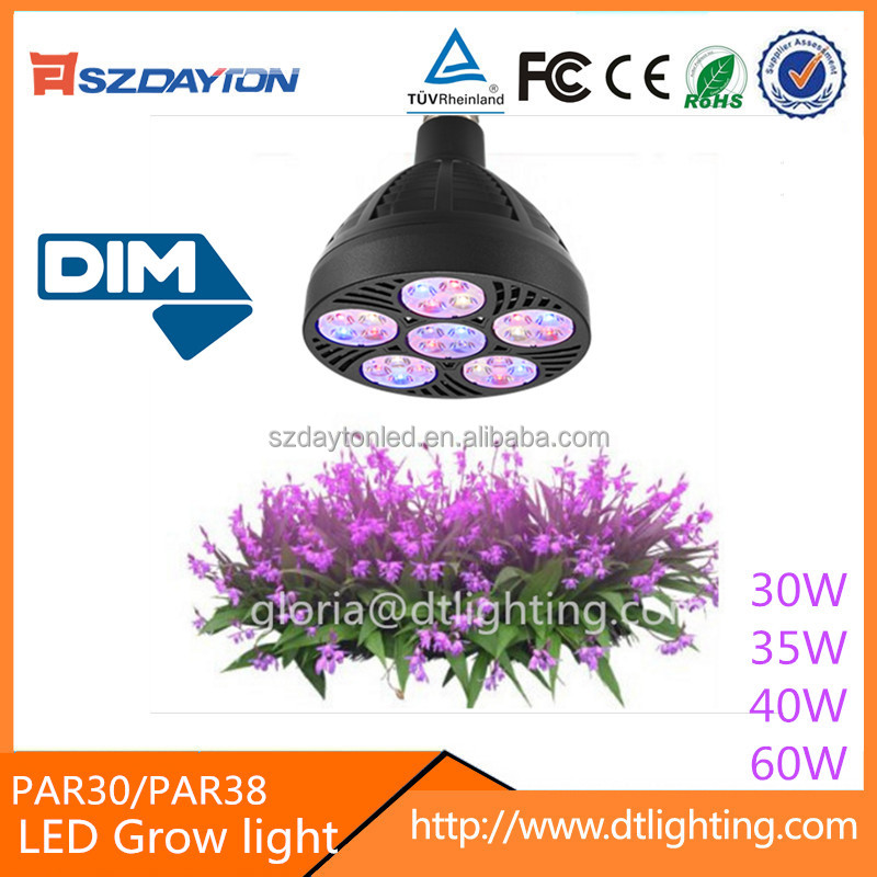 3 years warranty dimmable PAR30 PAR38 40w Full spectrum e27 mini led grow lights par30 for Plants