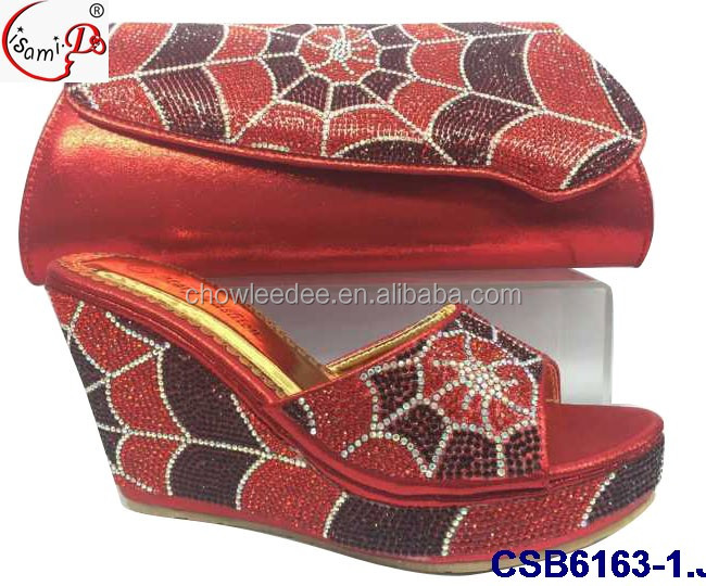 Evening party CSB6163-1 Hot Sale Elegant Design Crystal Shoes and bag for old women low heel shoes and bag
