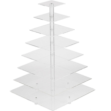 8 Tier Square Clear Acrylic Wedding Birthday Cupcake Stand Cake Display Stand Rack