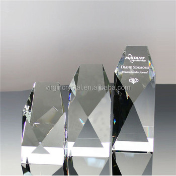 High quality blank crystal trophy block for personalized logo engraved