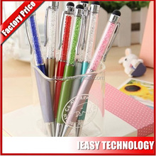 metal crystal touch pen with ball pen touch screen pen keychain gift set