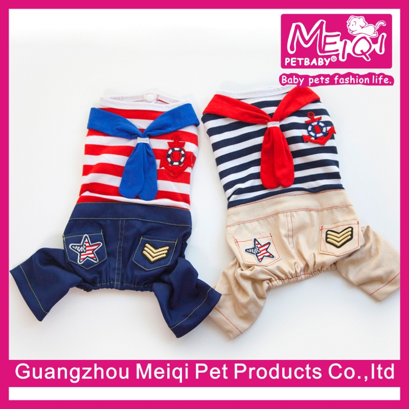 Hot Navy Stripe Dog Jumpsuit Pet Clothing Cheap