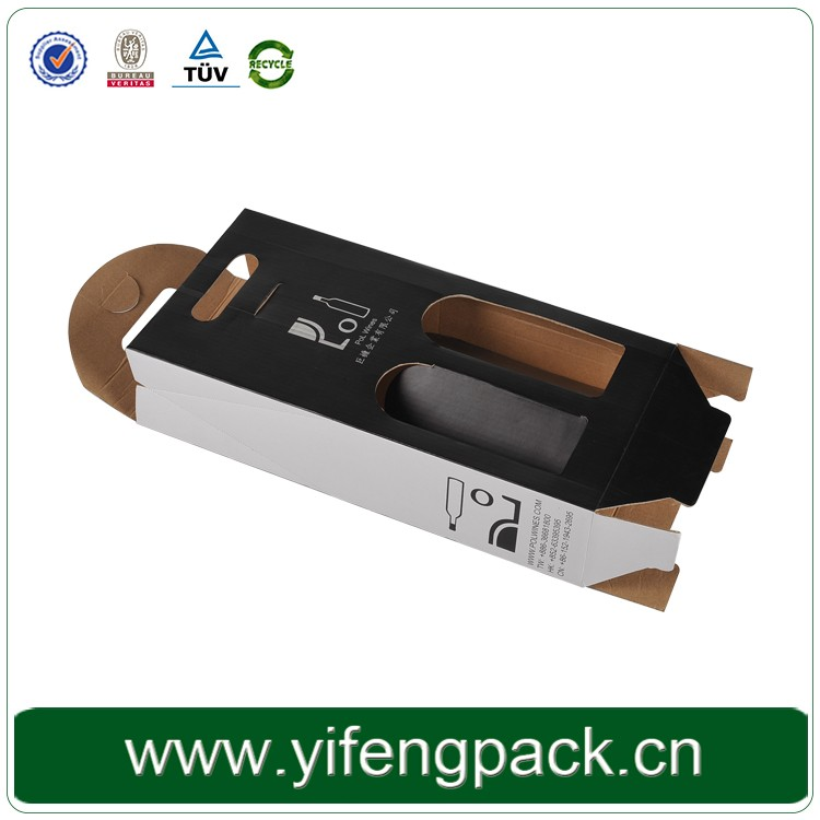 hot sale design solid black corrugated set up wine box with flat folding box