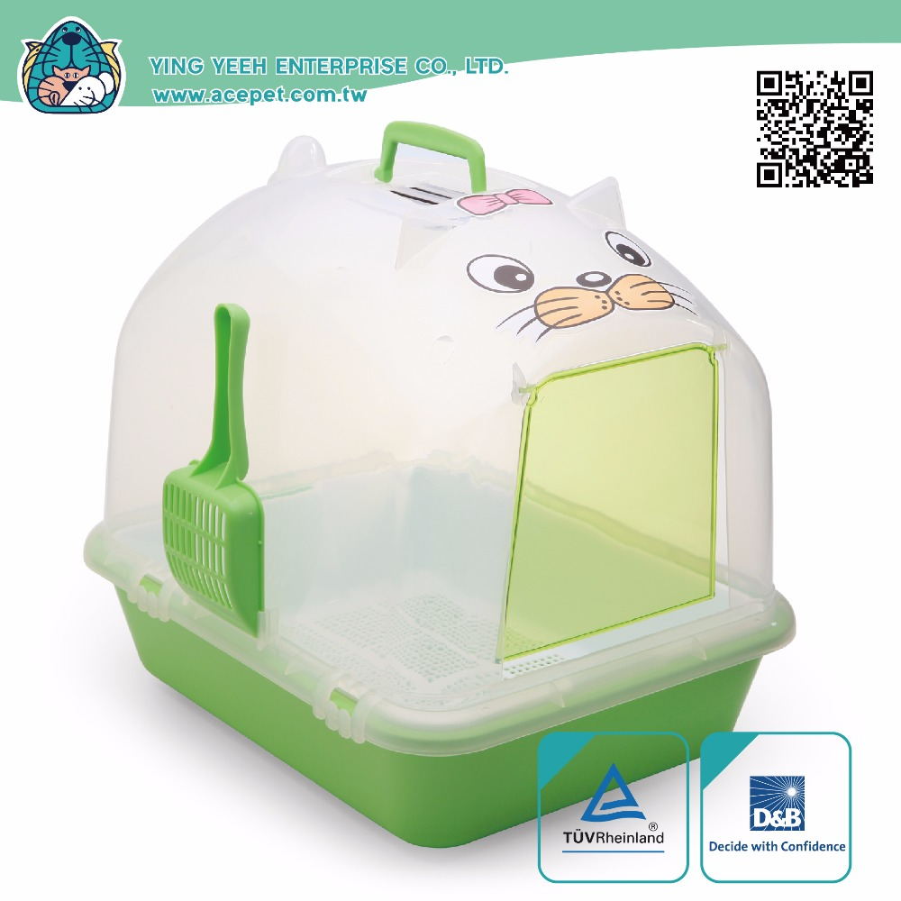 Cat Clean Up Products Transparent Dome covered new premium double layer Cat Litter Box,cat litter pan with Scoop and Sifter