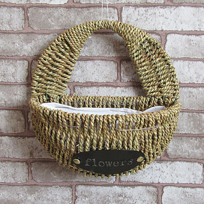 Handmade seagrass rope woven decorative wall flower straw hanging basket