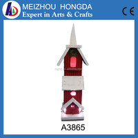 Hot selling christmas handmade carved wooden crafts Bird house light house