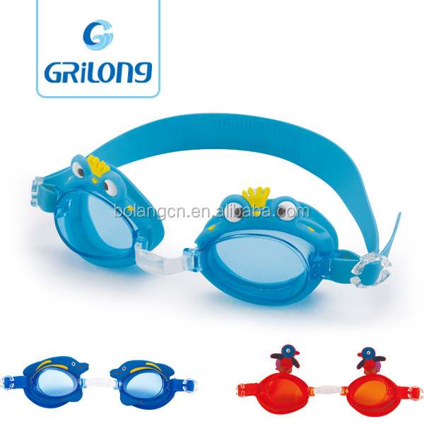 YIWU factory supplies soft non-poisonous funny design boy and girl silicone swimming goggle