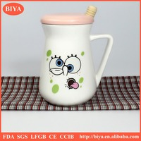 2016 new lipton mug ceramic cover with a tablespoon of ceramic cup
