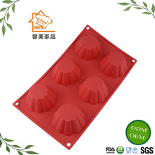 HIMI 6 Cavity Rectangle Silicone Muffin cups Mold Soap Custom Bar Soap Jelly pudding Cake Molds