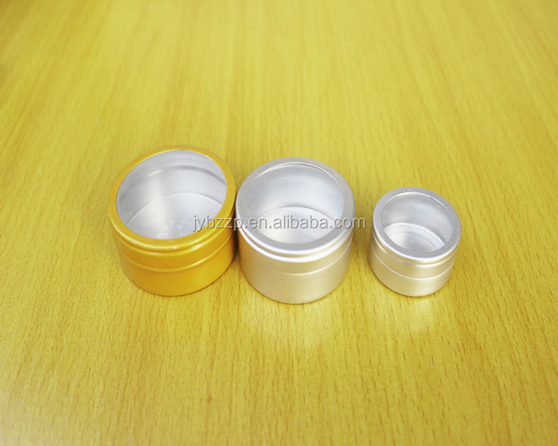 100g High Quality Aluminum Jar With Sliver Window,PVC cap