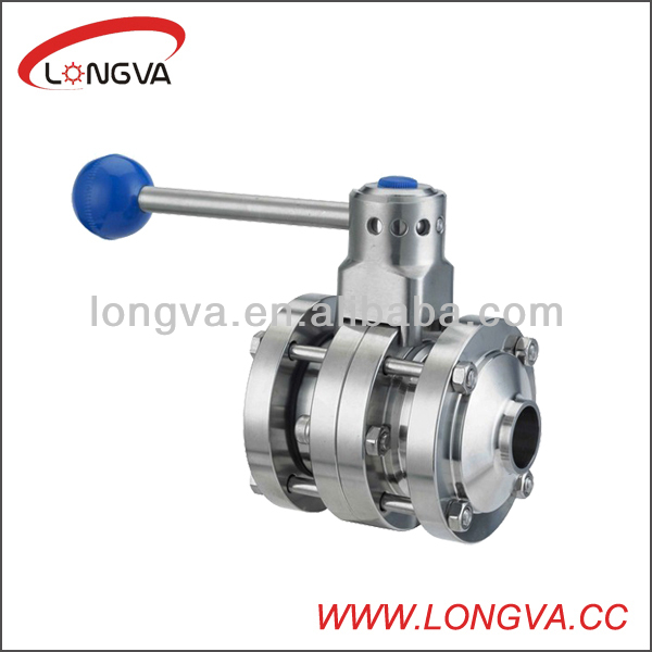 high quality sanitary stainless steel 3 piece butterfly valve with Handle