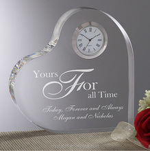 wholesale heart shape crystal glass clock crafts wedding gifts for guest