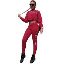 2017 Women Autumn Sexy Crop Top And Pant 2 Pieces Suit Set O Neck Elastic Long Sleeve Print Wine Red Lady two Pieces Pant Suit