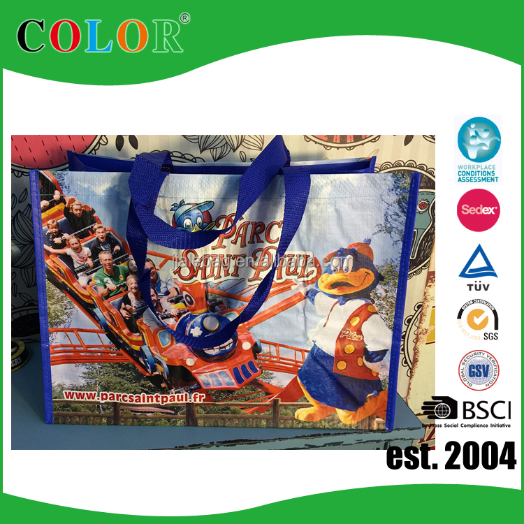BSCI factory pp woven cartoon shopping bag