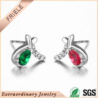 wholesale cheap silver colored stone stud earrings