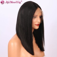 Chinese Popular AliBlissWig Brazilian Middle Deep Parting Natural Color Yaki Straight Human Hair Lace Front Wigs for Balck Women