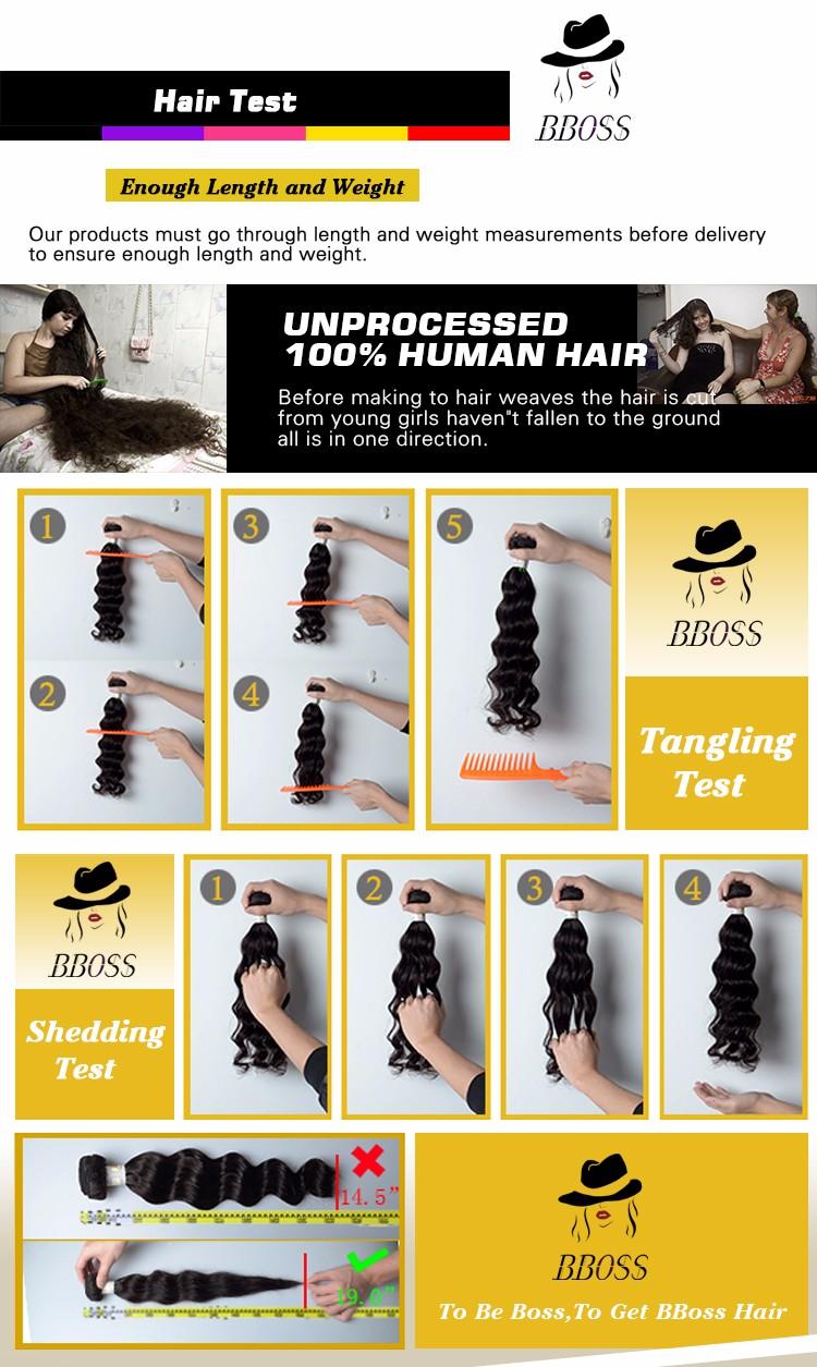 Bboss trama do cabelo humano/100% cabelo virgem malaio, top grau atacado cabelo malaio, cabelo grau 7a remy virgem do cabelo humano
