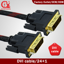 wholesale high speed DVI-D cable dual link DVI 24+1 cable male to male gold plated with nylon braid