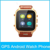 "1.54"" Dual core GSM genuine leather watch band wifi smart phone With Whatsapp watch cell phone android"