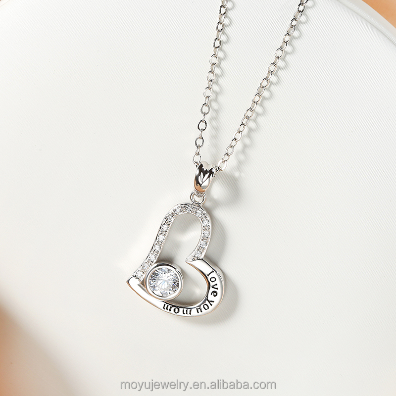 Mothers day gift: I love you mom engraved sterling silver heart pendant for mother