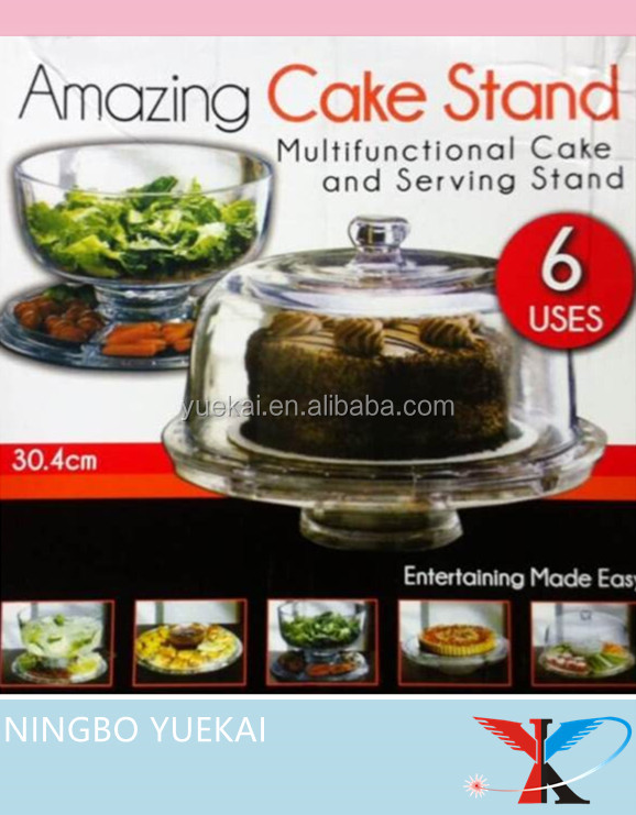 Multifunctional 6 in 1 Acrylic Cake Stand with Cover