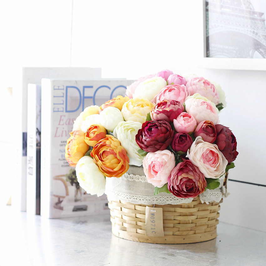 High quality peony silk flower wedding bouquet artificial peony wedding bouquet wholesale artificial flower