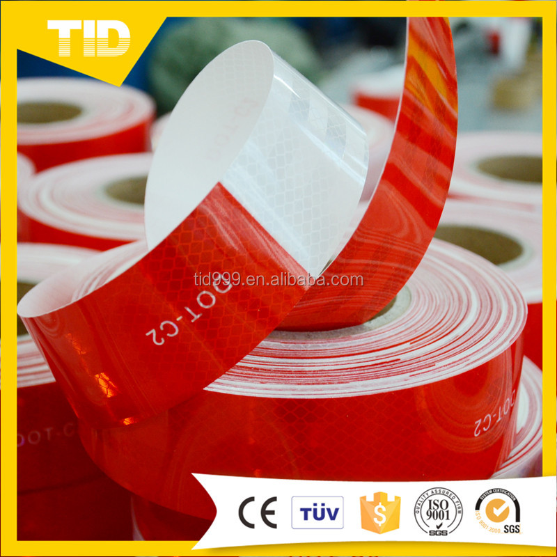 High quality red white strip dot certified reflective sticker caution tape