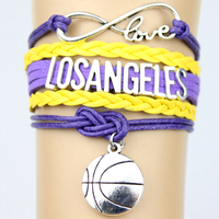 Infinity Love LOSANGELE basketball Team Bracelet Purple yellow Customized Raptors Wristband friendship Bracelets