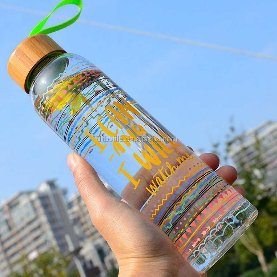 Borosilicate Glass Material With Bamboo lid Single Wall Coloful Logo Printing Glass Drinking Water bottle