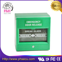 Break Glass Manual Fire Alarm Call Point (Single Pole and Double Pole for Choice), Green Color Emergency Break Glass