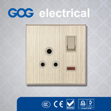Hot!!! BS 15A safety switched socket with neon for south-east asia market wall socket electric switch socket