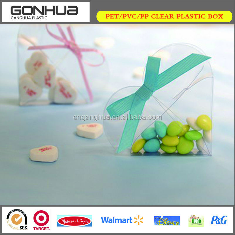 Heart shaped valentine day gift sweets candy clear plastic food packaging box with bowknot ribbon