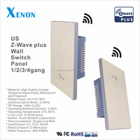 Xenon Z-wave Newest arrival RF wifi remote control glass panel 1 gang 2 gang 3 gang wall switch with remote controller