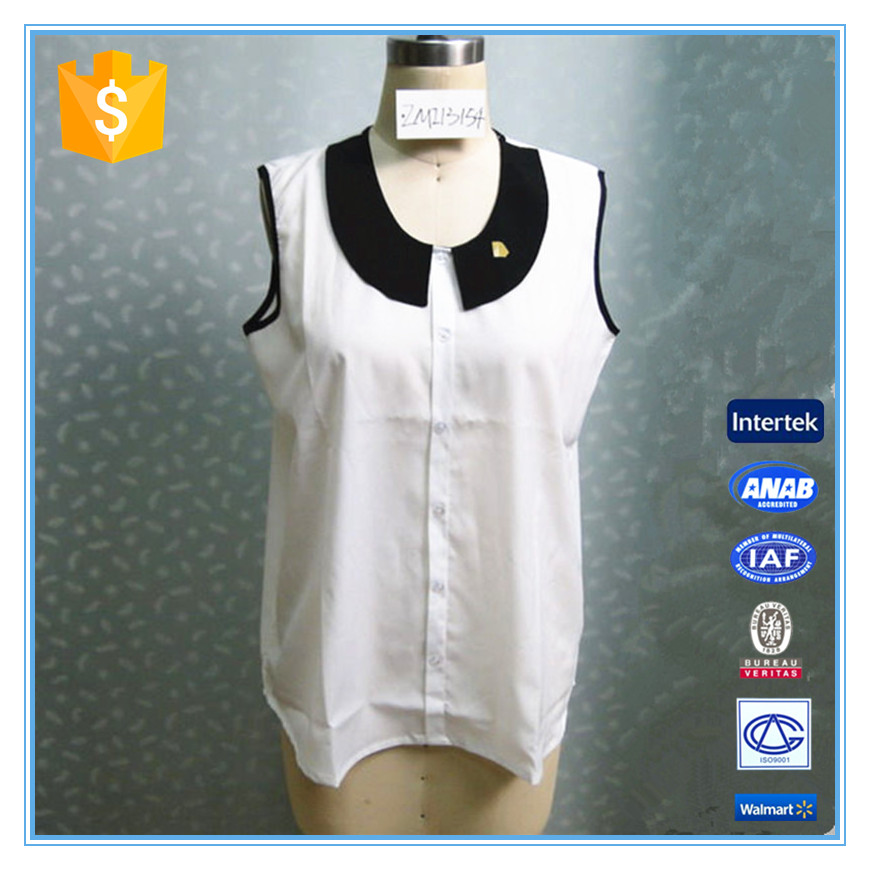 Women Elegant Formal White Blouses Sleeveless Vest Shirt