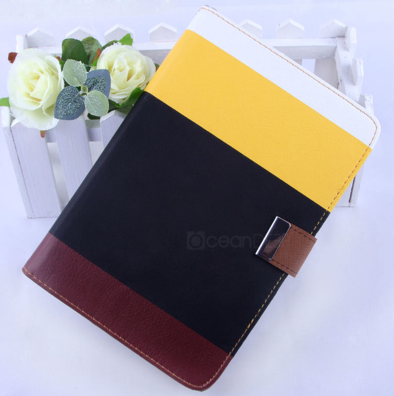2013 new design fashional book style flip leather case for mini ipad
