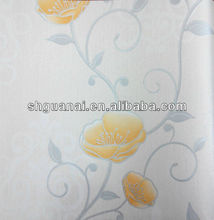 Beautiful yellow flower no glue self adhesive vinyl wallpaper for restaurant decoration wallpaper (0.53m*10m)