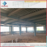 customized light steel prefabricated H section steel frame shed workshop