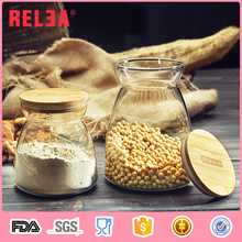 Promotional wholesale tea coffee sugar glass storage canisters with bamboo airtight lid