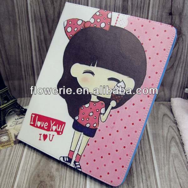 FL2837 2013 Guangzhou hot selling cute girl flip leather phone case for ipad air