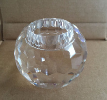 FACETED CRYSTAL Round Ball VOTIVE Candle HOLDER MH-1863